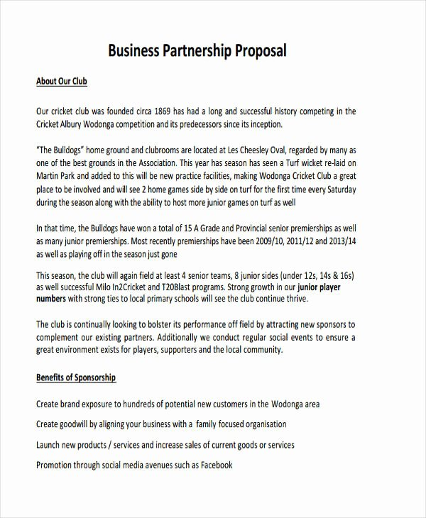 Business Partnership Proposal Sample Best Of Free 6 Partnership Proposal Examples & Samples In Pdf Google Docs Pages Word