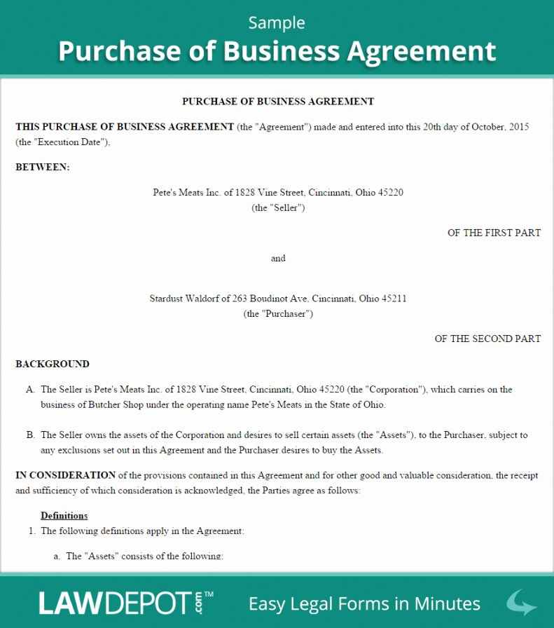 Business Purchase Agreement Pdf Best Of S Sale and Purchase Agreement Template
