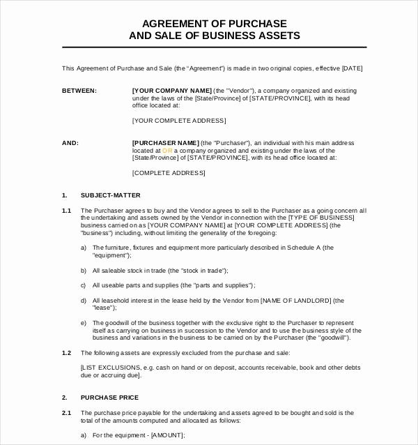 Business Purchase Agreement Pdf Lovely Sample Business Sale Agreement 4 Free Documents