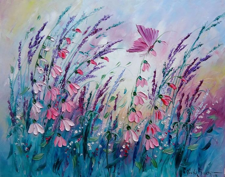 Butterfly and Flower Paintings Awesome butterfly On Flower Oil Painting