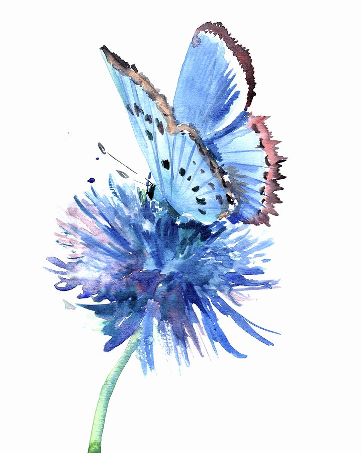 Butterfly and Flower Paintings Elegant Blue butterfly and Blue Flower Painting by Suren Nersisyan