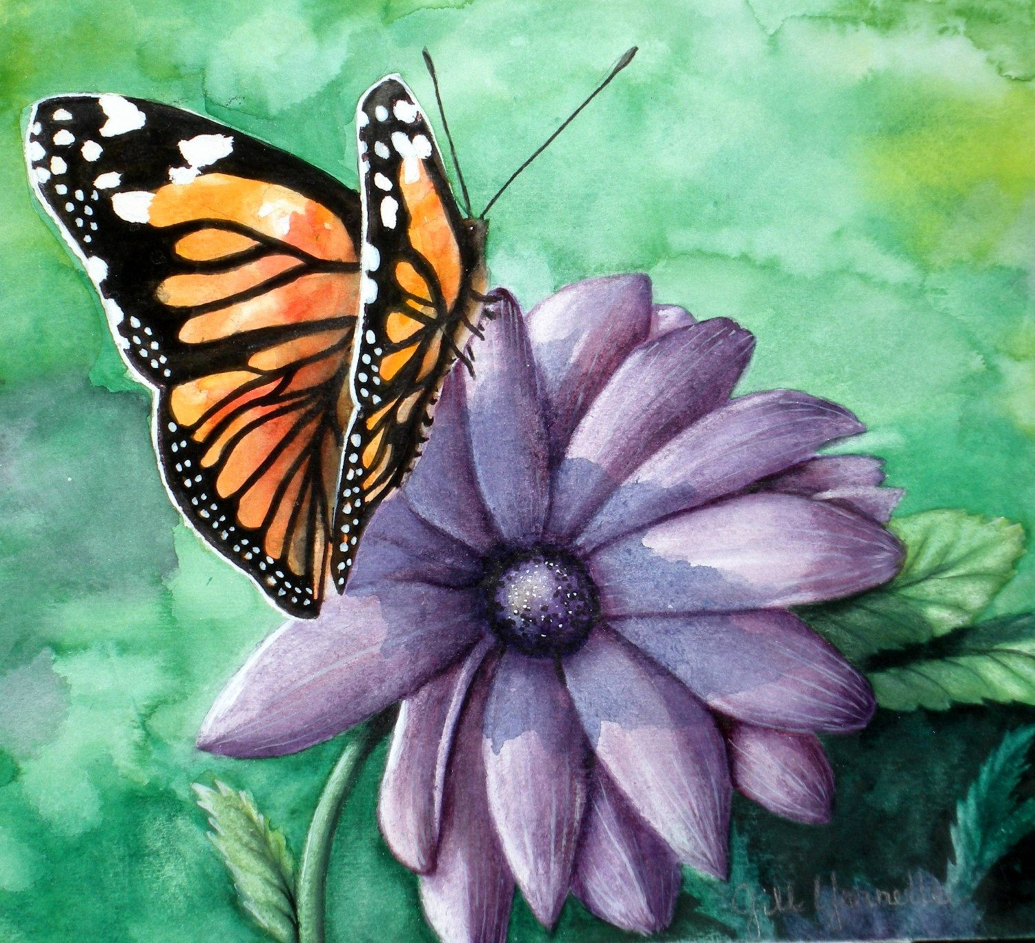Butterfly and Flower Paintings Elegant butterfly and Flower original Watercolor Painting