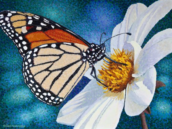 Butterfly and Flower Paintings Elegant Monarch
