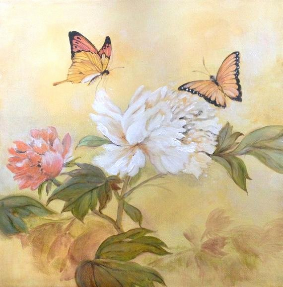 Butterfly and Flower Paintings Fresh Items Similar to original Acrylic Nature Fine Art Painting butterflies Flower Portrait On