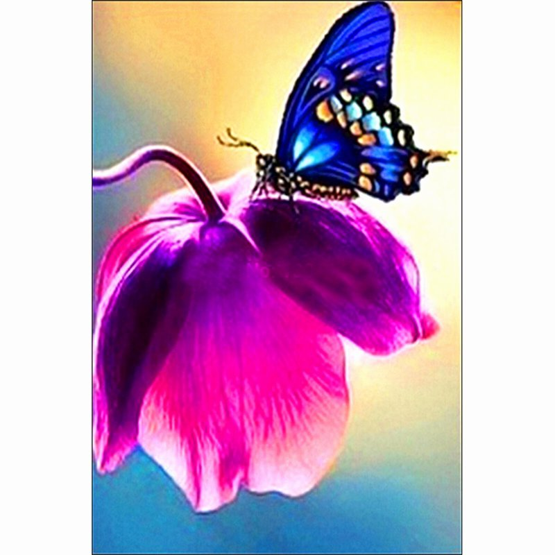 Butterfly and Flower Paintings Lovely 2015 top Fashion Paintings Pastoral Resin Plant Square butterfly Poppy Flower Diamond Painting