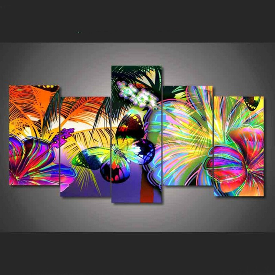 Butterfly and Flower Paintings Luxury Poster Modular Canvas Wall Art 5 Pieces Abstract butterfly and Flowers Hd Prints