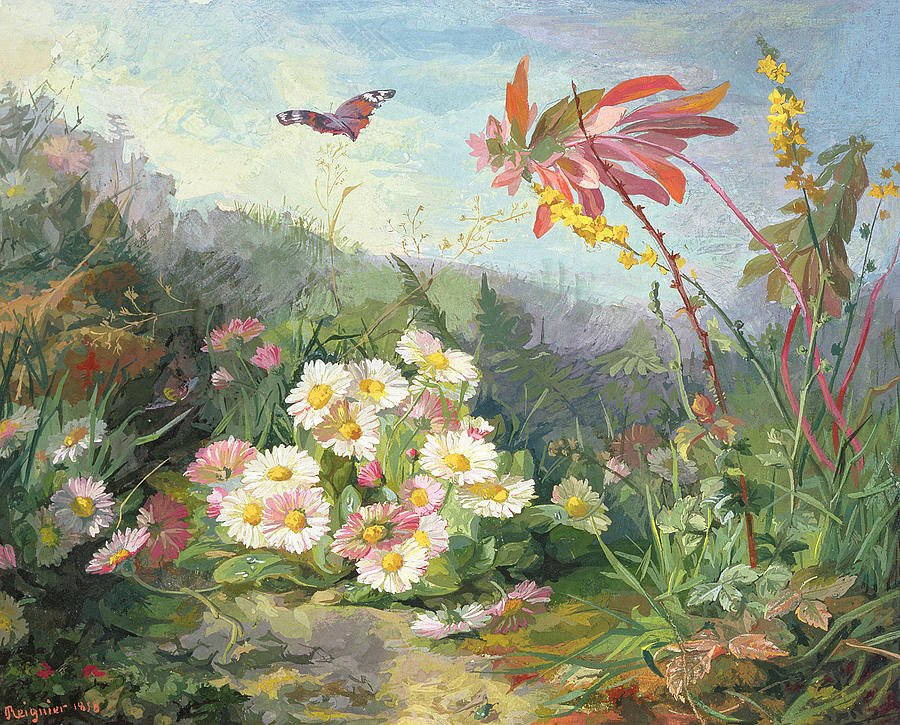 Butterfly and Flower Paintings Luxury Wild Flowers and butterfly Painting by Jean Marie Reignier