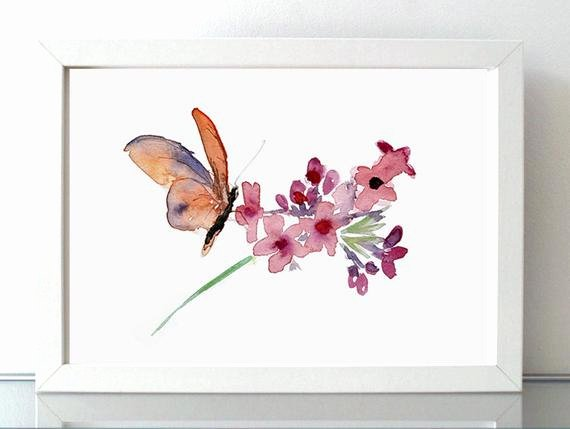 Butterfly and Flower Paintings New butterfly and Flower Watercolor Painting Nature Art Wall
