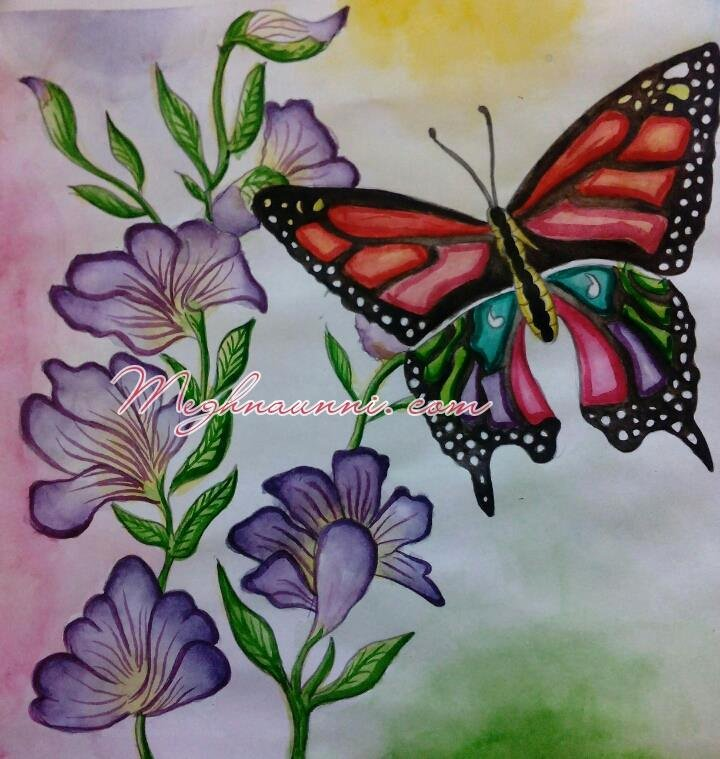 Butterfly and Flower Paintings New Flowers & butterfly Indradhanush Painting – Watercolor – Meghna Unni S Blog