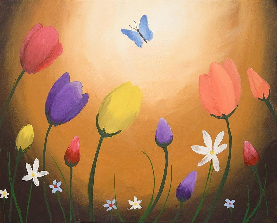 Butterfly and Flower Paintings New Watercolours butterfly original Flower Floral Painting Wall Art Acrylic Abstract Painting by
