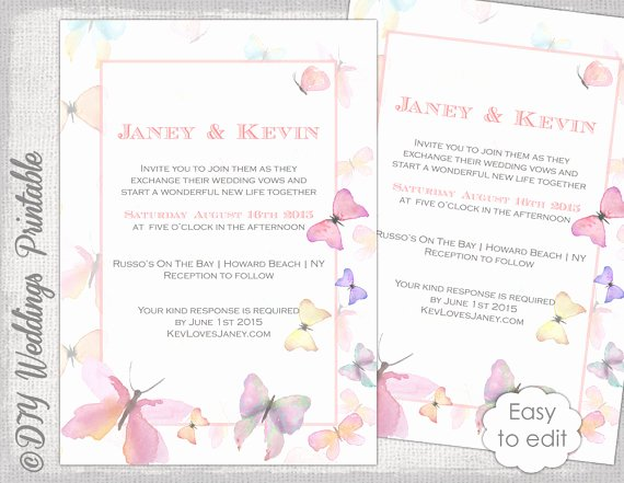 Butterfly Invitations Templates Free Best Of butterfly Invitation Template Printable Wedding Invitations