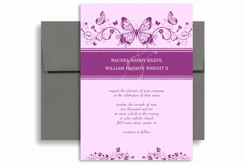 Butterfly Invitations Templates Free Lovely Purple White butterfly Printable Wedding Invitation 5x7 In