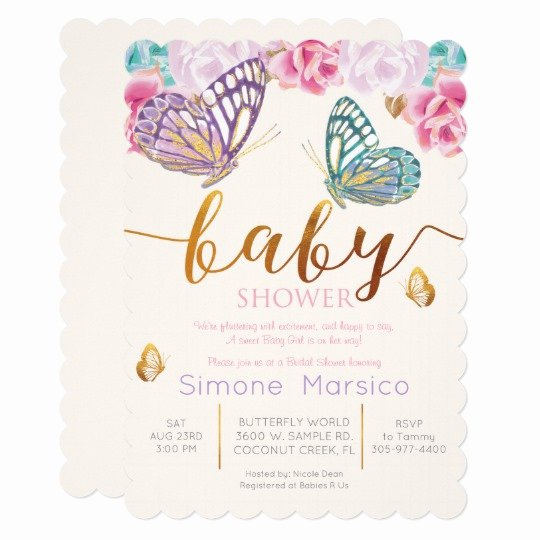 Butterfly Invitations Templates Free Luxury butterfly Baby Shower Invitation
