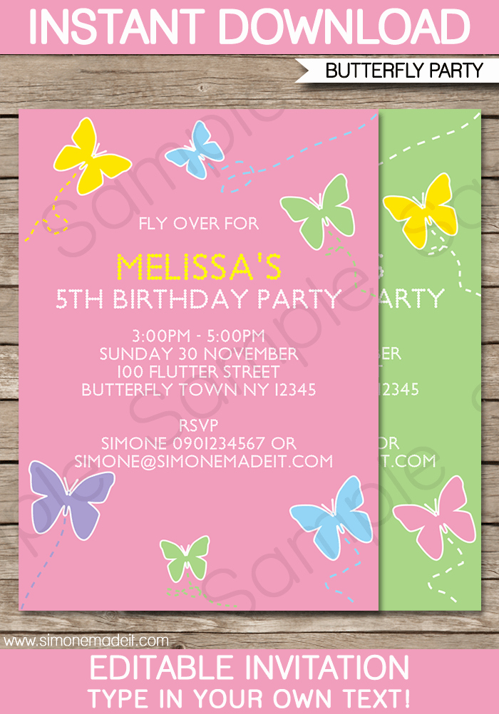 Butterfly Invitations Templates Free Luxury butterfly Party Invitations Template