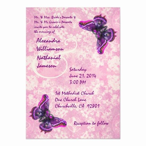 Butterfly Invitations Templates Free Luxury Purple and Pink butterflies Wedding Template 5x7 Paper