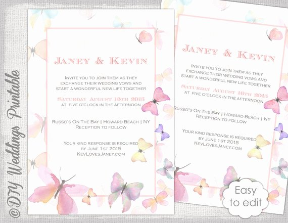 Butterfly Invitations Templates Free Unique butterfly Invitation Template Printable Wedding Invitations