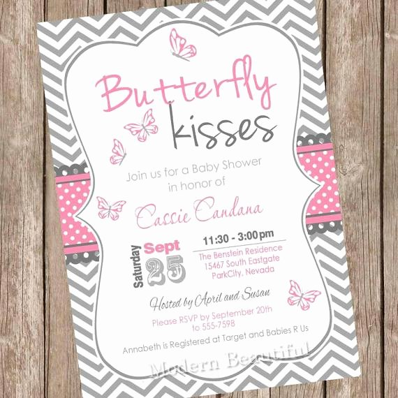 Butterfly Invitations Templates Free Unique butterfly Kisses Baby Shower Invitation by Modernbeautiful