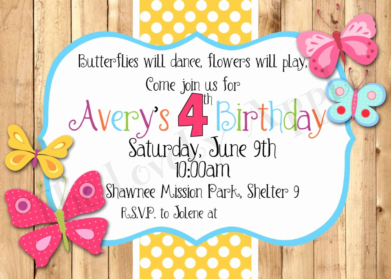 Butterfly Invitations Templates Free Unique Spring Birthday Invitations
