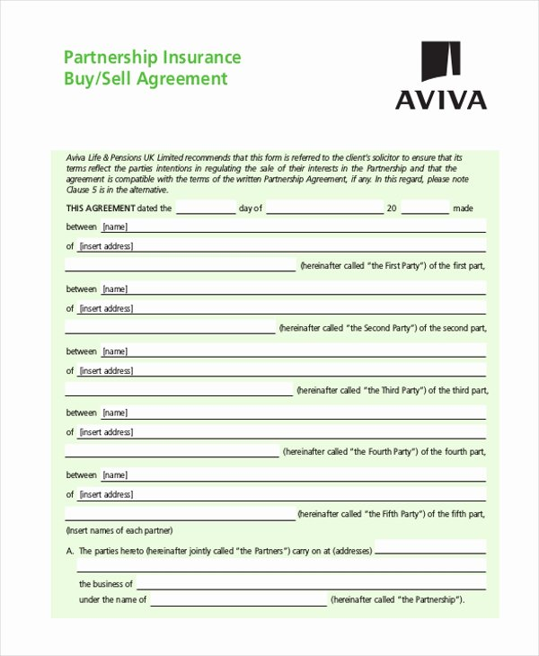 Buy Sell Agreements forms Beautiful 9 Sample Partnership Agreement forms Free Sample