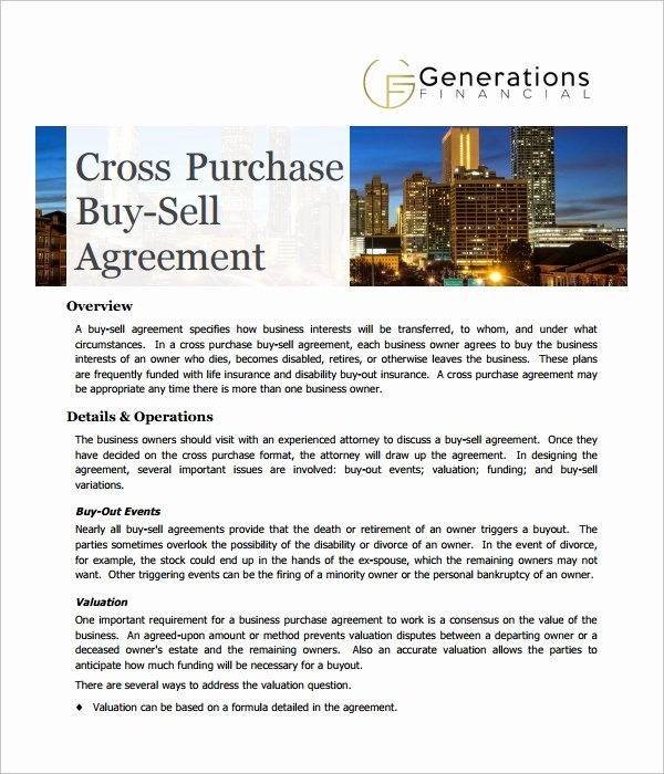 Buy Sell Agreements forms Elegant Sample Cross Purchase Agreement Template 6 Free