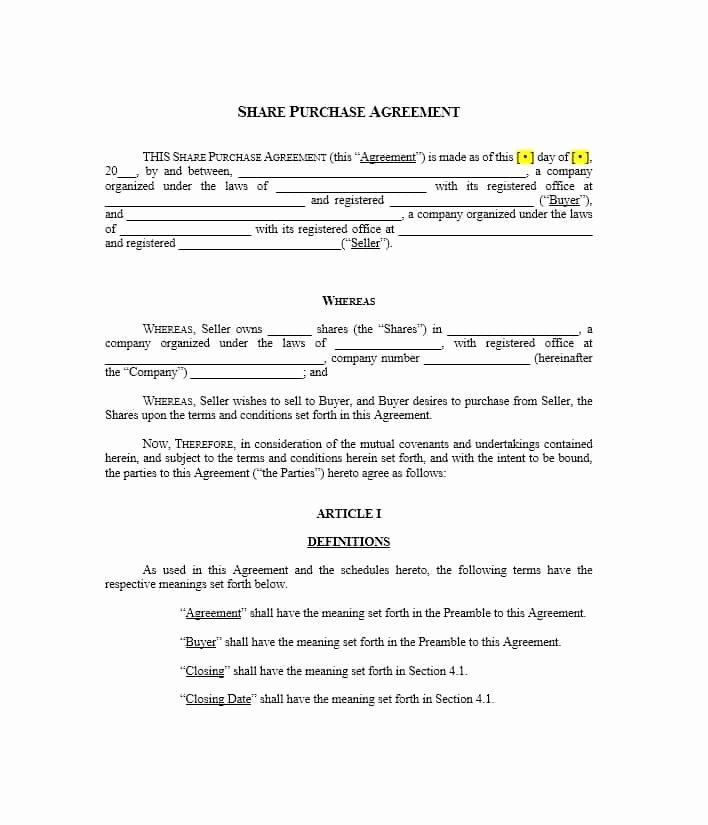 Buy Sell Agreements forms New 37 Simple Purchase Agreement Templates [real Estate Business]