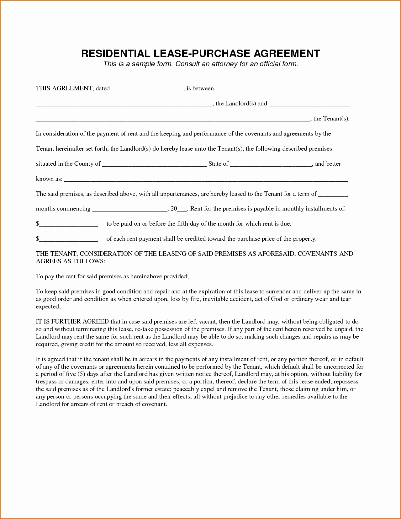 Buyout Agreement Template Free Lovely 5 Sample Lease Agreement
