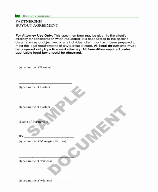 Buyout Agreement Template Free Lovely 9 Sample Partnership Agreement forms Free Sample Example format
