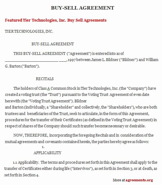 Buyout Agreement Template Free Luxury Buy Sell Agreement Download Word & Pdf Agreements org