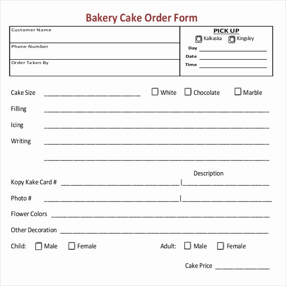 Cake order forms Printable Elegant 16 Bakery order Templates Google Docs Pages