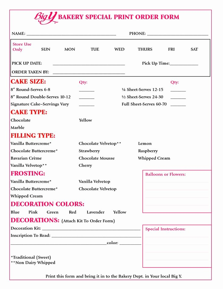 Cake order forms Printable Elegant Cake order form Google Search Decorating Baking Tips Pinterest