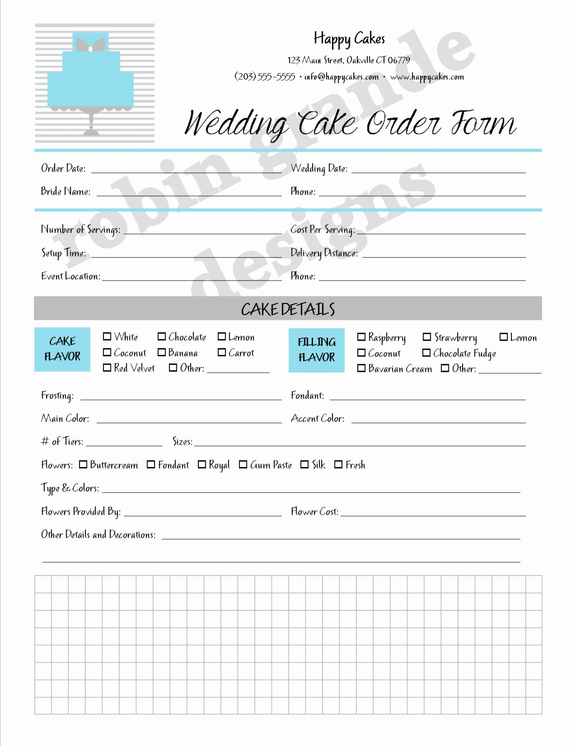 Cake order forms Printable Lovely Custom Cake Decorator Wedding Cake order form Contract for