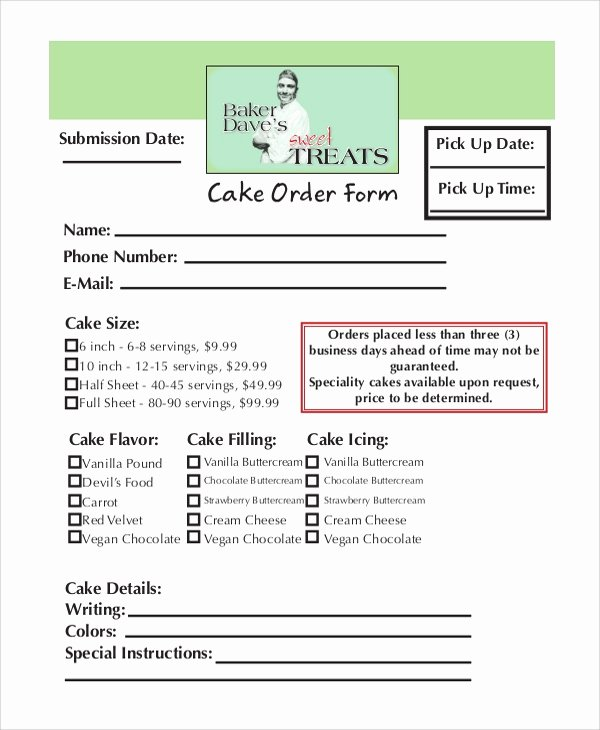 Cake order forms Printable Unique order form Samples Examples Tempales 7 Documents In Pdf Word