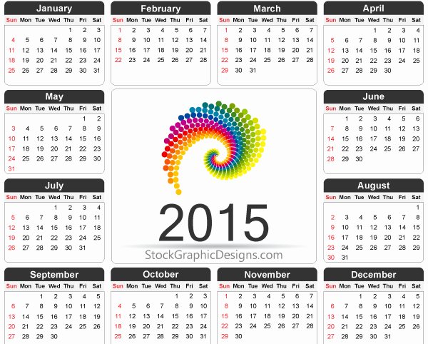 Calendar Template for Photoshop Elegant Printable 2015 Calendar Template Vector Free Vector & Shop Brushes