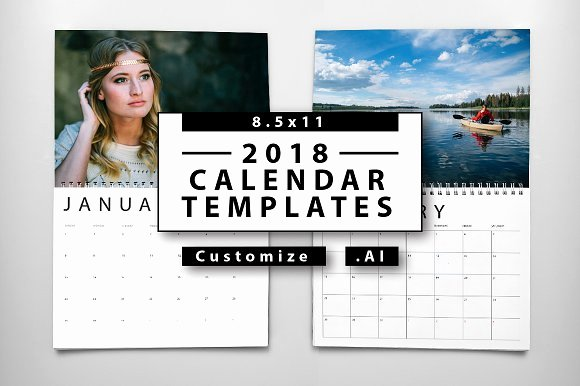 Calendar Template for Photoshop Lovely 2018 Calendar Templates Templates Creative Market