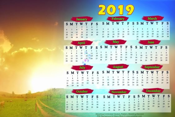 Calendar Template for Photoshop Luxury 2019 Calendar Template Hd for Shop