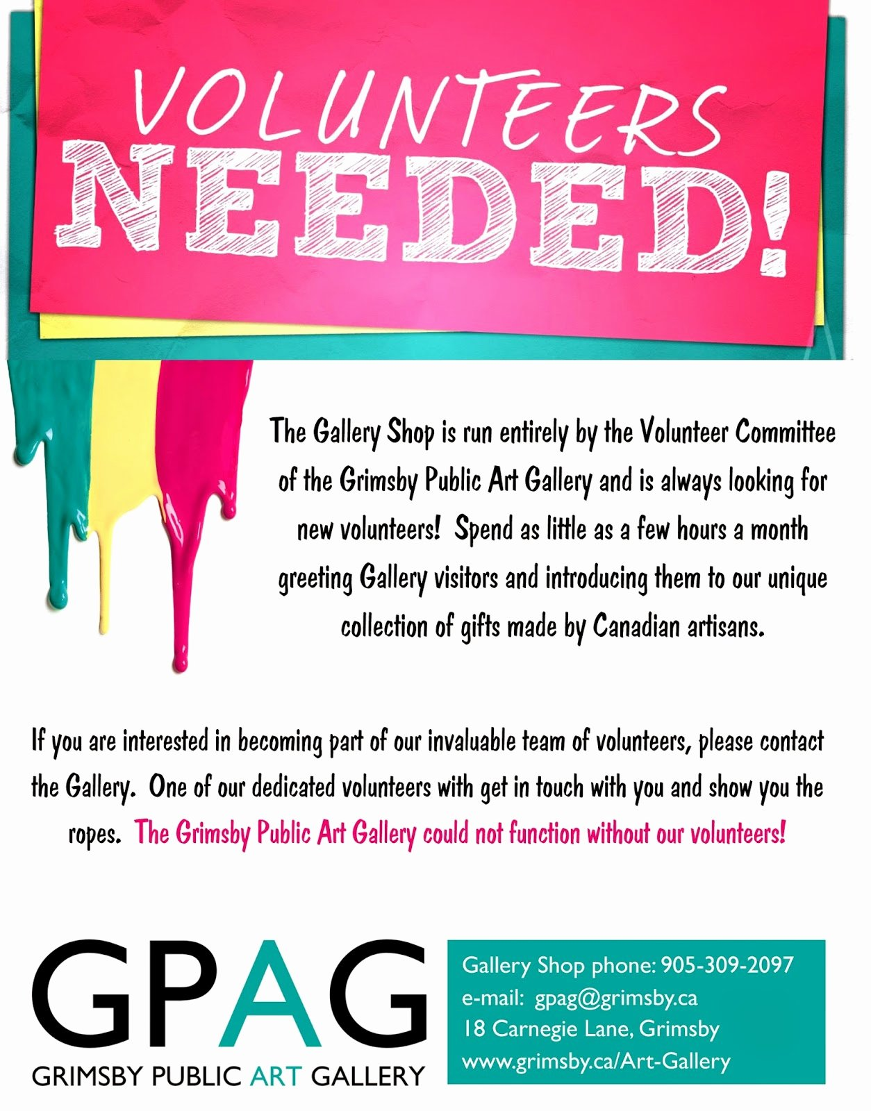 Call for Volunteers Template Elegant Grimsby Public Art Gallery Gift Shop