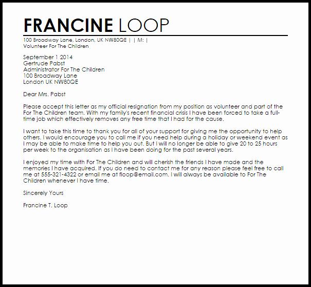 Call for Volunteers Template Elegant Volunteer Resignation Letter Example