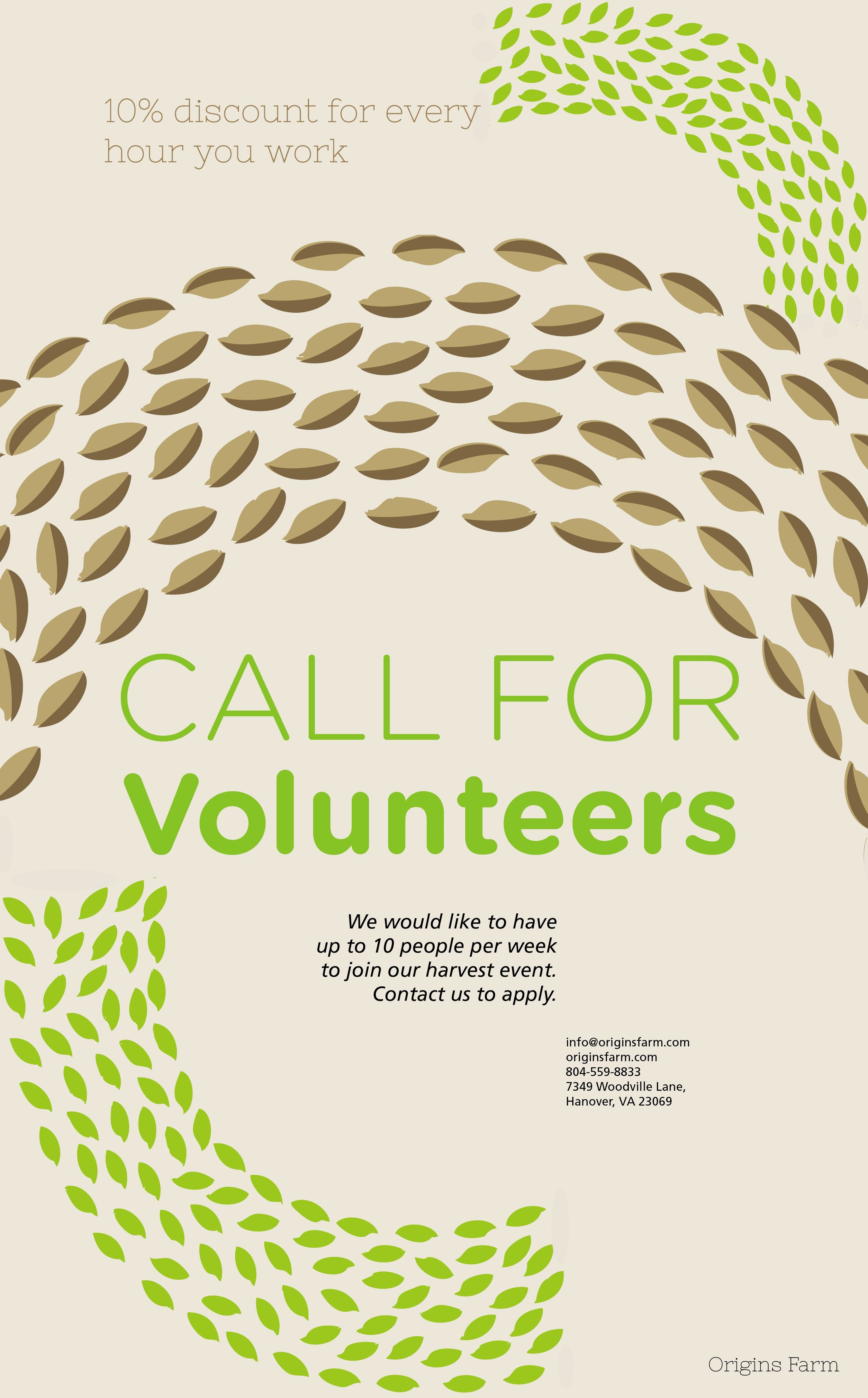 Call for Volunteers Template Fresh origins Farm Volunteer Flyer Graphic