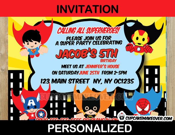 Calling All Superheroes Invitation New Action Superhero Ic Party Yellow Invitation Card