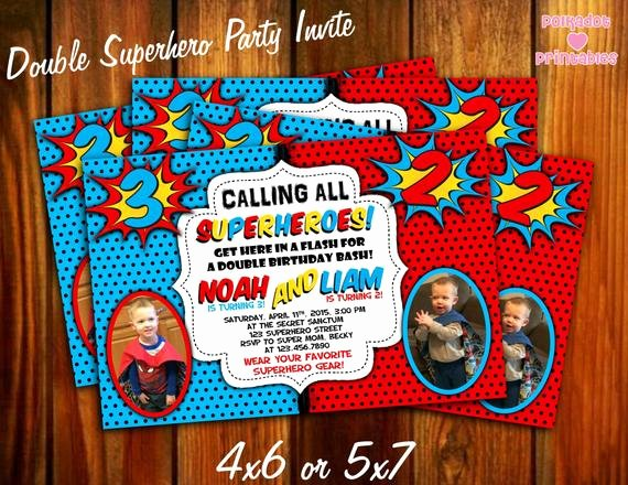Calling All Superheroes Invitation Unique Calling All Superheroes Double Party Invitation 4x6 or 5x7