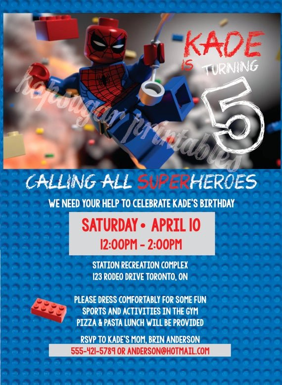 Calling All Superheroes Invitation Unique Calling All Superheros Birthday Invitation Digital File Lego