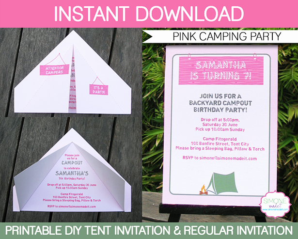 Camping Invitations Templates Free Awesome Camping Tent Invitation Template Pink