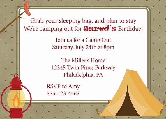 Camping Invitations Templates Free Awesome Items Similar to Campout Invitation Camping Camp Out Invite Diy Printable Boys Birthday On Etsy