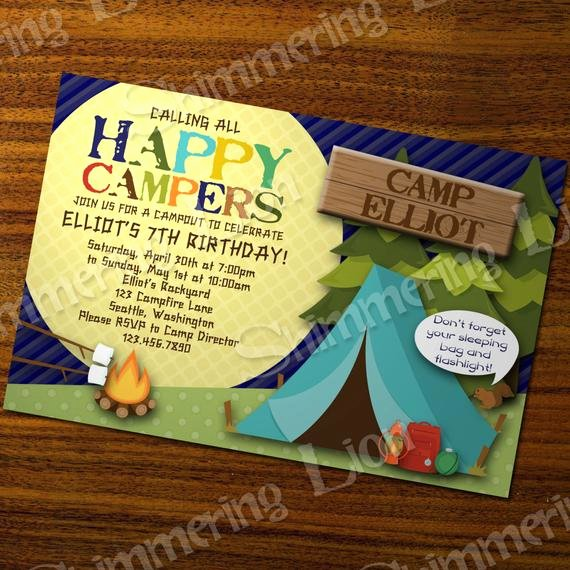 Camping Invitations Templates Free Best Of Camping Birthday Invite Invitation Party by Shimmeringlionstudio