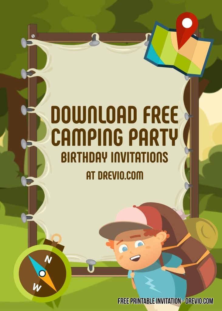 Camping Invitations Templates Free Elegant Free Printable Camping Party Invitation Templates