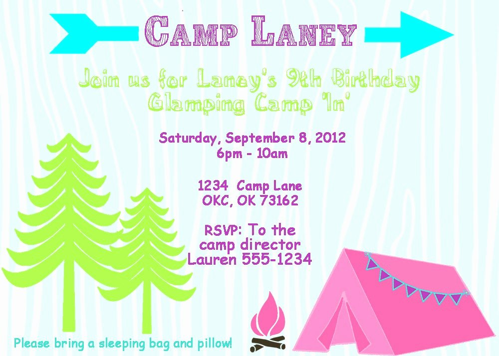 glam camping invitation girls camping