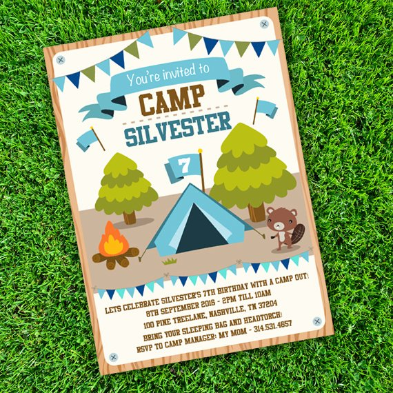 Camping Invitations Templates Free Lovely Camping Tent Party Invitation Template Edit with Adobe Readerparty Printables