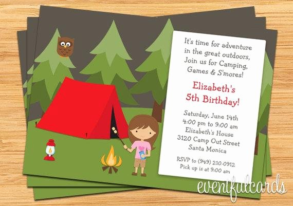 Camping Invitations Templates Free Lovely Girls Camping Birthday Party Invitation