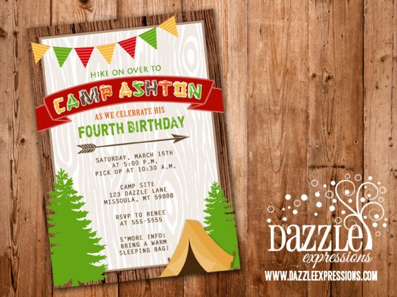 Camping Invitations Templates Free Lovely Printable Rustic Camping Birthday Invitation Backyard Sleepover Tent Free Thank You Card