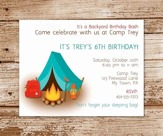 Camping Invitations Templates Free Luxury Free Printable Camping Birthday Invitations